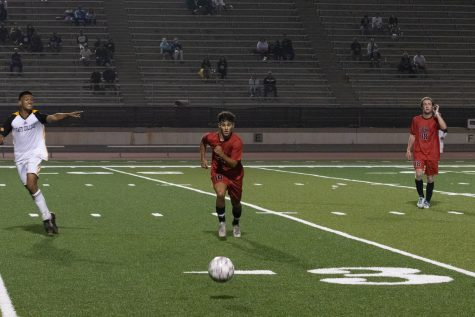 Will Demirkol, 16, sprints for the ball as his teammate Dylan Rogers, 18, waits during the Vaqueros' first home game of the fall 2021 season on Sept. 7 in La Playa Stadium at Santa Barbara City College in Calif. The Vaqueros tied with Taft College 1-1.