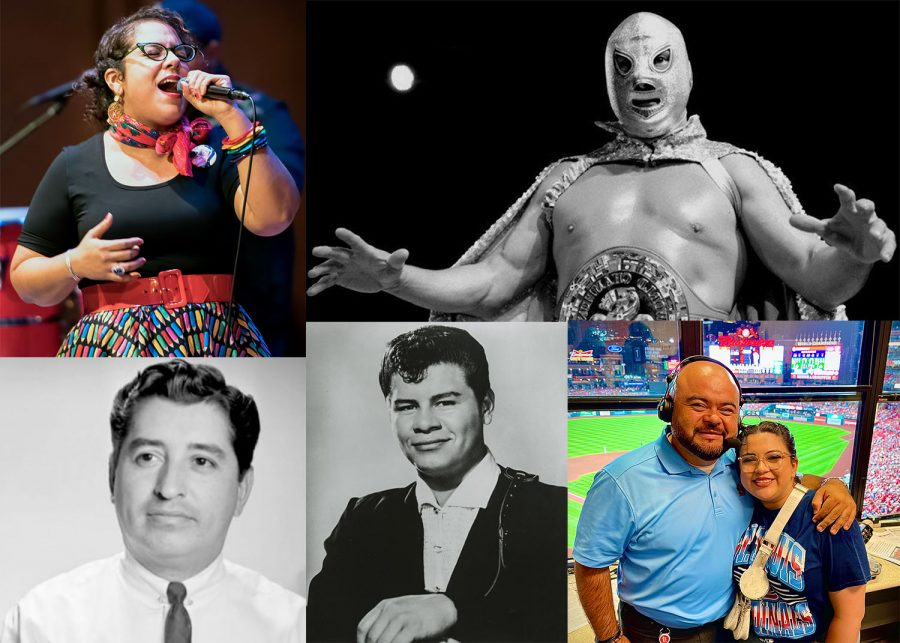 """Clockwise from the top left, singer and musician Marisol """"La Marisoul"""" Hernandez, wrestler and actor Rodolfo Guzmán Huerta, professionally known as """"El Santo,"""" broadcaster Polo Ascencio with his daughter Arts & Entertainment Editor Bianca Ascencio, musician Ritchie Valens and journalist and activist Ruben Salazar."""