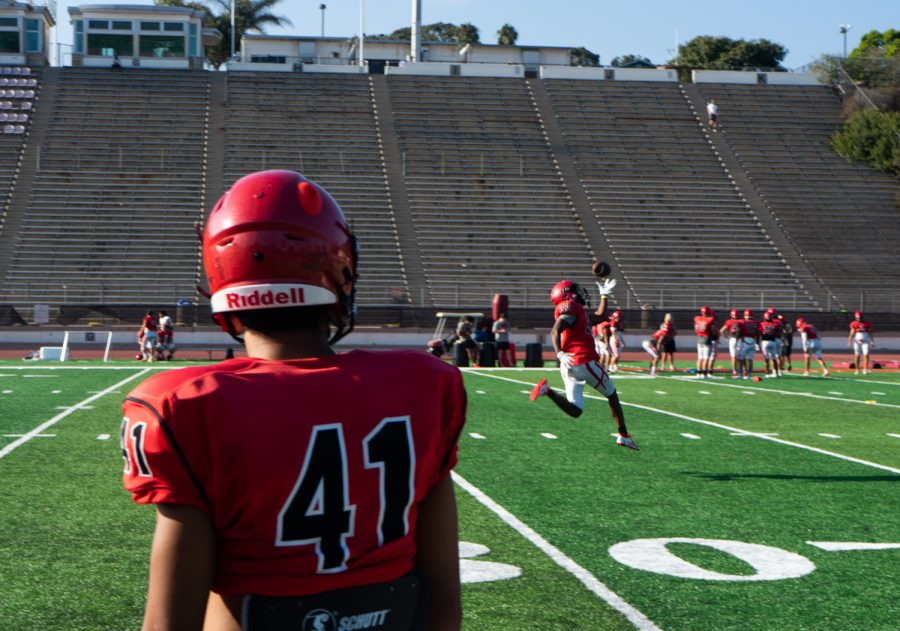 Anthony Myles, 33, jumps up for a one handed catch during practice on Sept. 1, 2021 at La Playa Stadium at Santa Barbara City College, Calif. This is Myles' first year as a Vaquero.