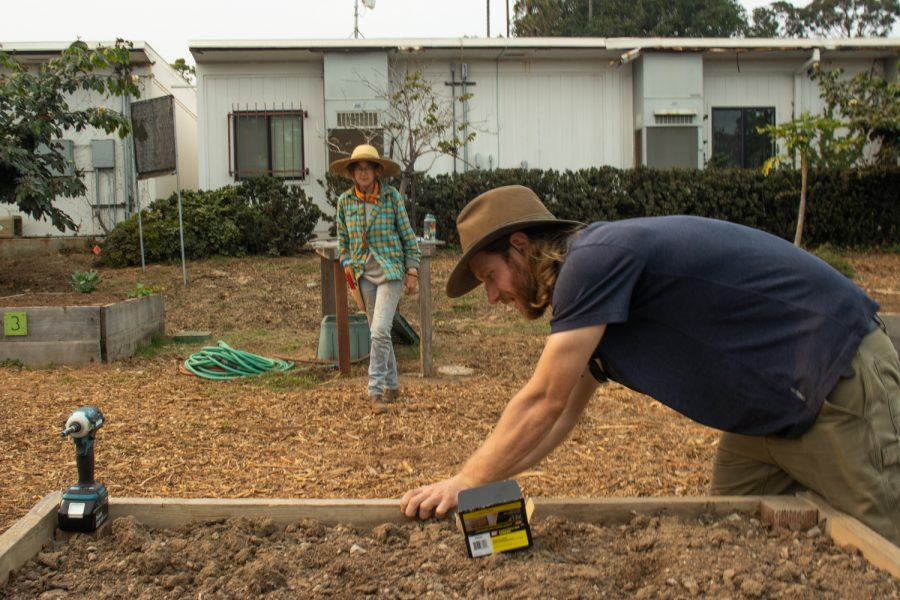 """Student Jezebel Kenny asks instructor Lewis Daniel if the """"tomatoes"""" sign that he is drilling into the planting bed is level on Sept. 24 at City College's food garden in Santa Barbara, Calif. Each bed is designated to a specific vegetable that City College's permaculture students will tend to and eventually harvest for the culinary department to cook in the cafeteria."""
