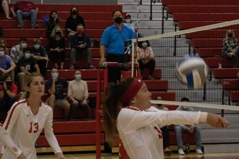 From left, Karoline Ruiz gets ready to spike the ball over the net as Emma Crabbe sets the ball for her during their game against Ventura College on Oct. 6 at City College in Santa Barbara, Calif. The City College Vaqueros swept the Ventura Pirates 3-0.