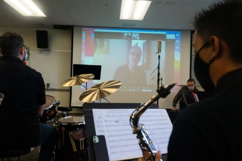 Grammy Award-winning artist Ted Nash virtually attends a Lunch Break Big Band rehearsal on Oct. 1 in the Drama/Music building at City College in Santa Barbara, Calif. The band members each play original compositions for Nash, then receive feedback on their work.