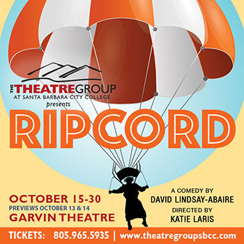 Banner for the fall 2021 production of Ripcord running from Oct. 15 through Oct. 30 at City Colleges Garvin Theatre in Santa Barbara, Calif. Image courtesy of theatre manager Pam Lasker.