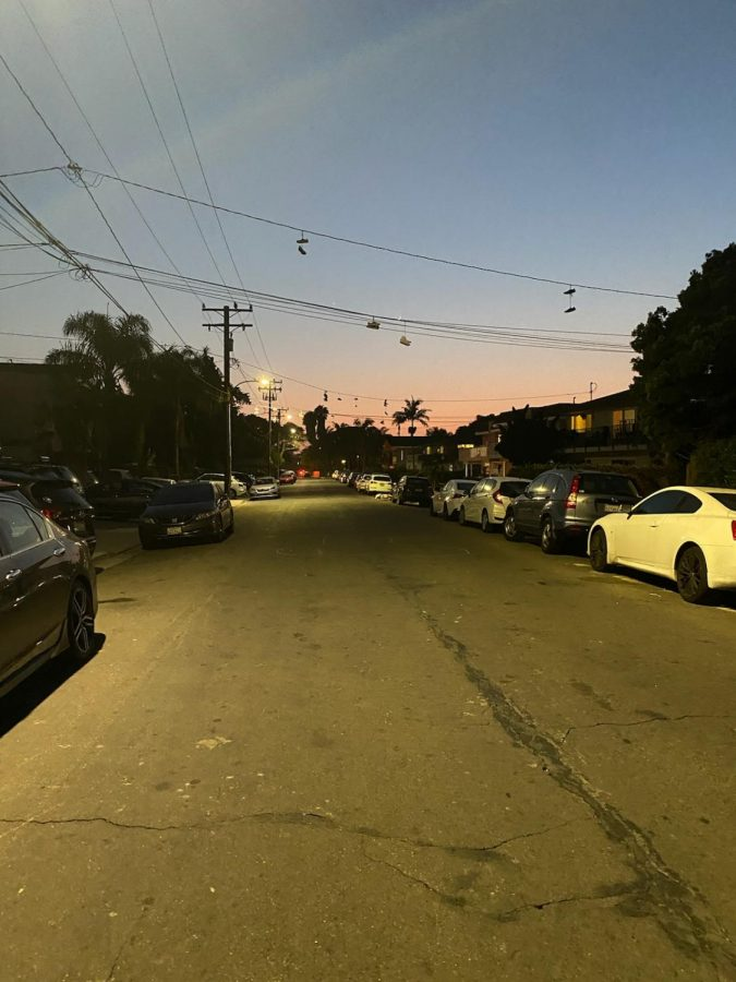 Del Playa Drive during sunset in Isla Vista, Calif. Many students are having trouble finding housing in Goleta and Isla Vista this semester due to a housing shortage.